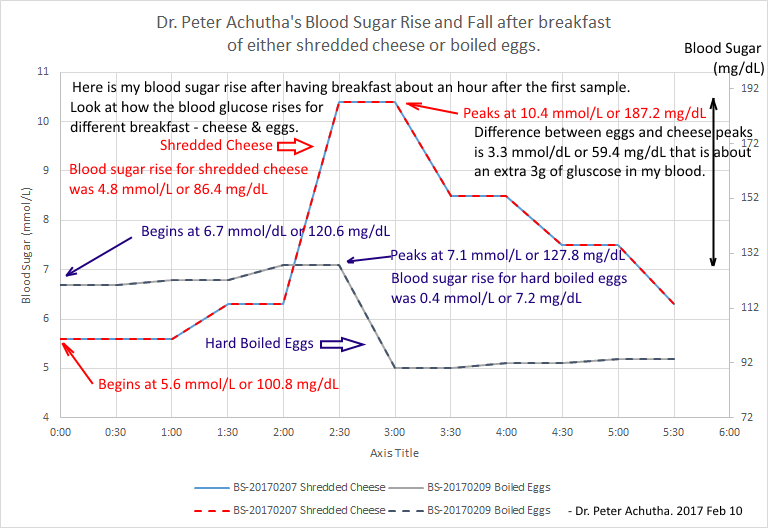blood sugar rise and fall with eggs and cheese